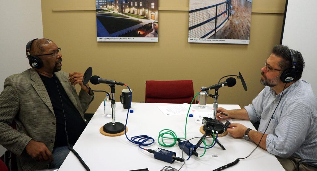Burt Pinnock, FAIA and Bryan Clark Green, Ph.D. in mid-interview.