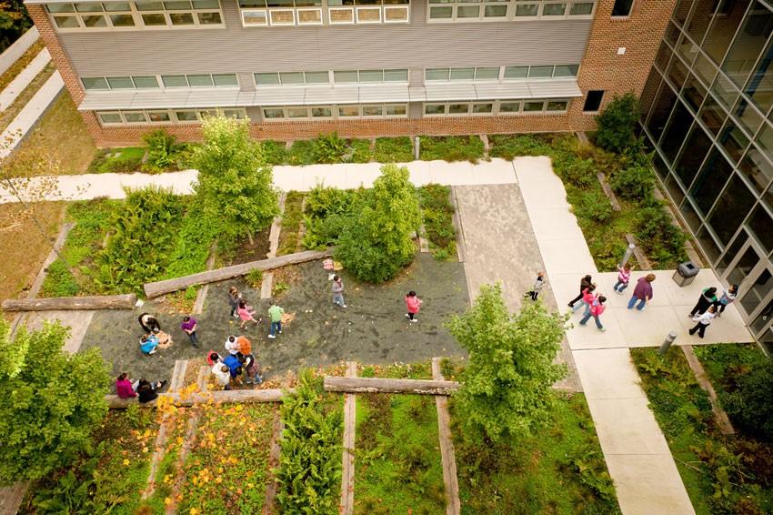 Green spaces at Manassas Park Elementary School. © Sam Kittner