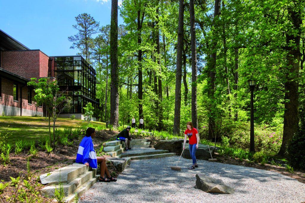 Students enjoying the Zen garden at the McLeod Tyler Wellness Center
