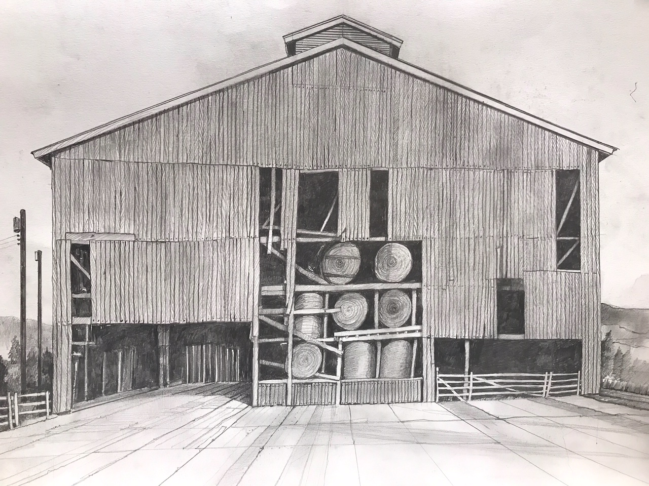 Sketch of a Nelson County Barn by Carlton Abbott, FAIA