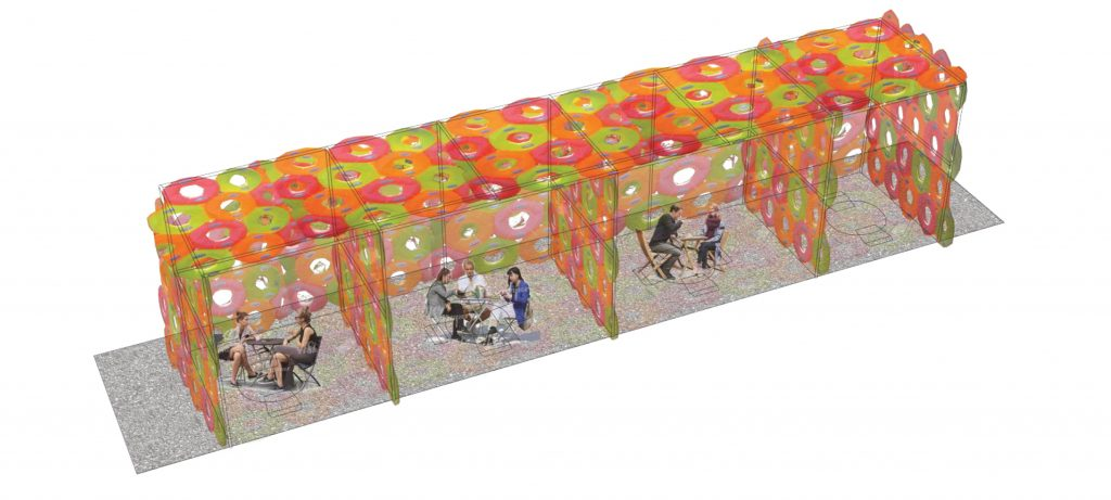 inflatable tubes define physically-distanced seating areas in parklets