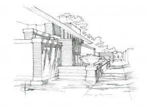 Fountain Pen and Ink sketch of the Robie Residence by Frank Lloyd Wright in Chicago, Illinois.