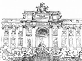 Black and white pen and ink sketch of Trevi Fountain by Manoj Dalaya, FAIA.