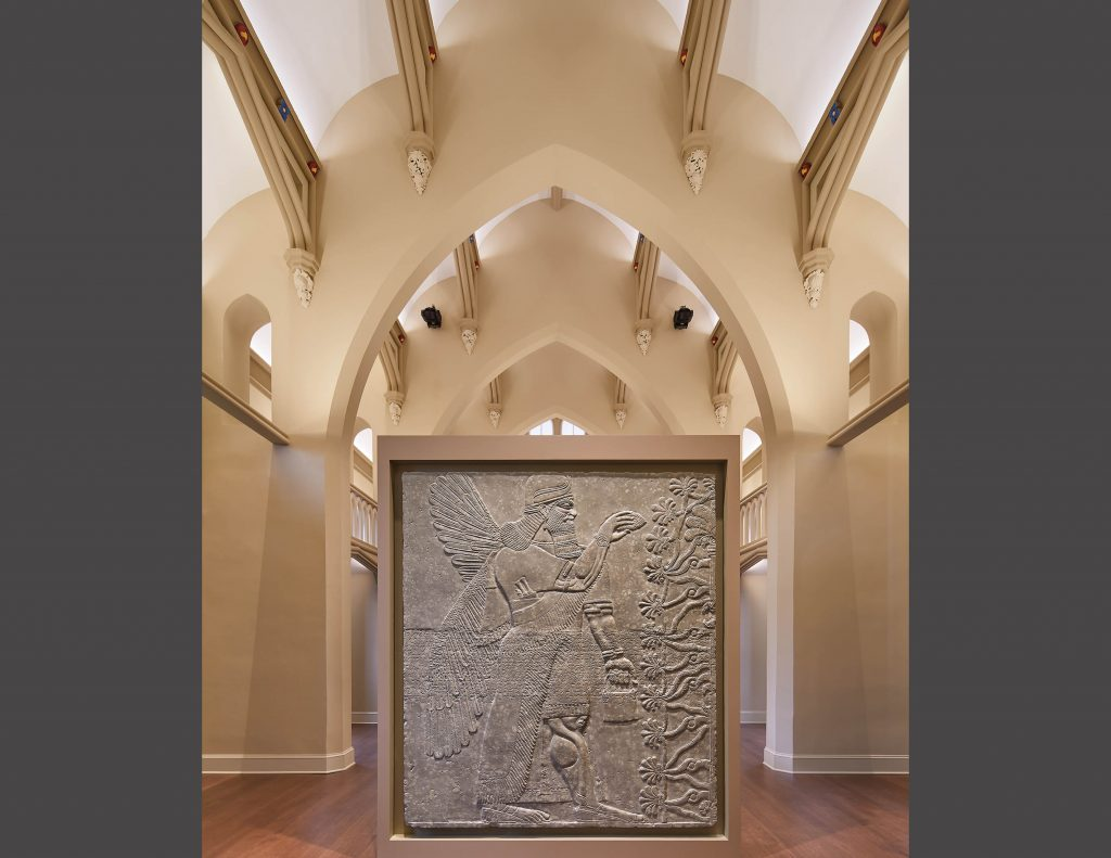 two Gypsum Assyrian relief panels originally from the Temple of Nimrud near Mosul, Iraq