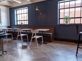 Office with Blue Walls and wood floor in Blacksburg VA