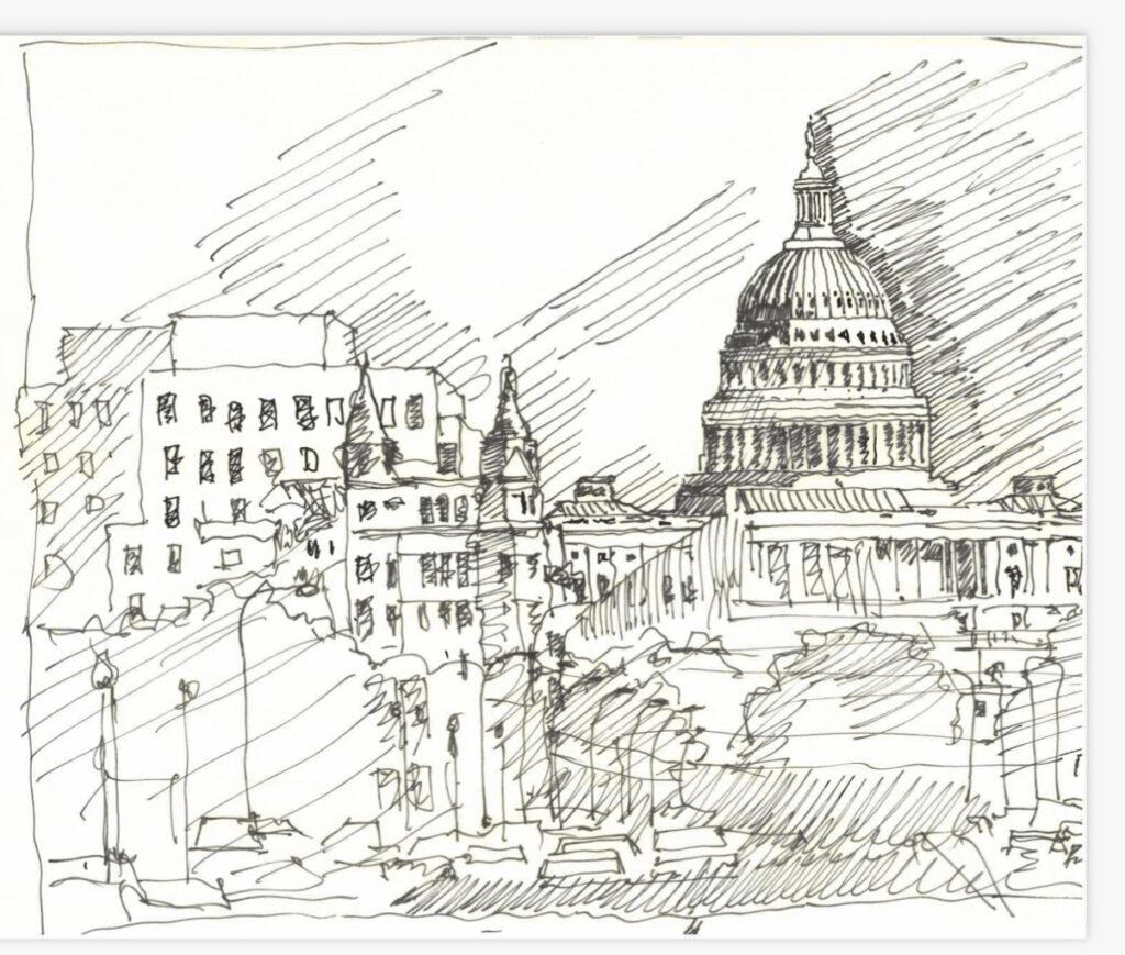 Sketch of the U.S. Capitol
