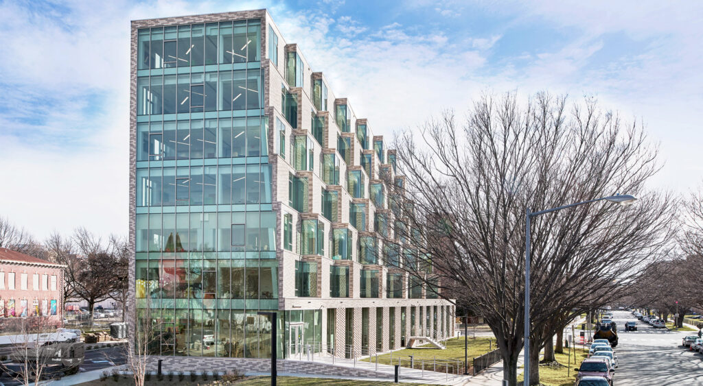 """The Aya's distinctive form responds to the tree line of Delaware Avenue and differentiates each residential level, designed as individual """"neighborhoods."""" Credit: Hoachlander Davis Photography."""