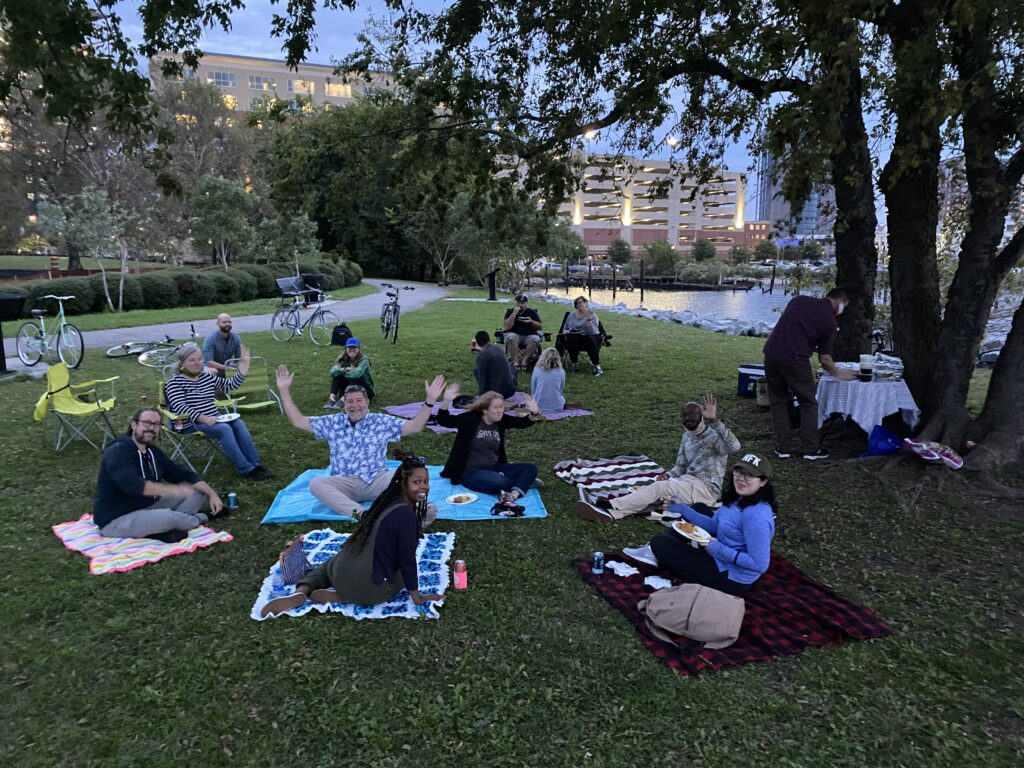 The WPA team picnics on the waterfront