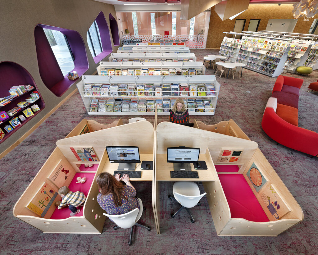 The Fairfield Library Furniture overhead view