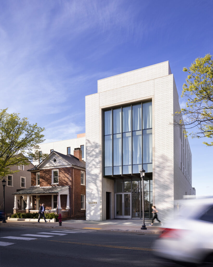 Street view of Quirk Hotel in Charlottesville