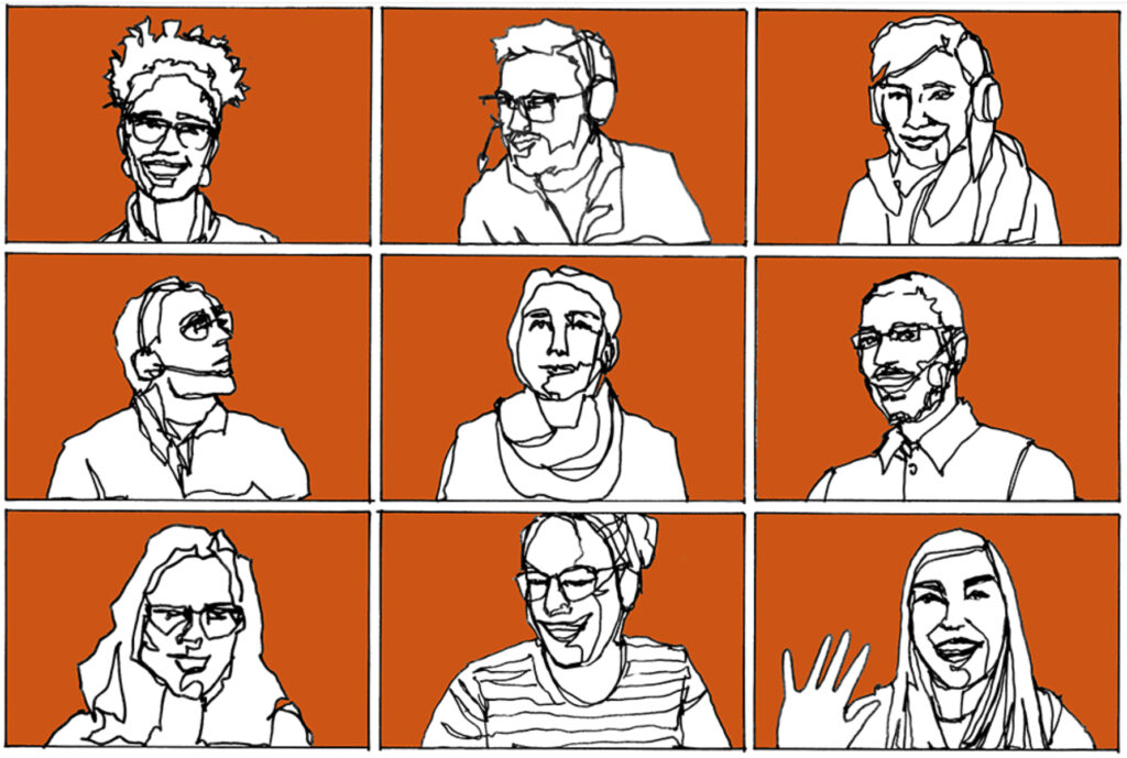 Sketch of 6 people in a Zoom-like grid with an orange background