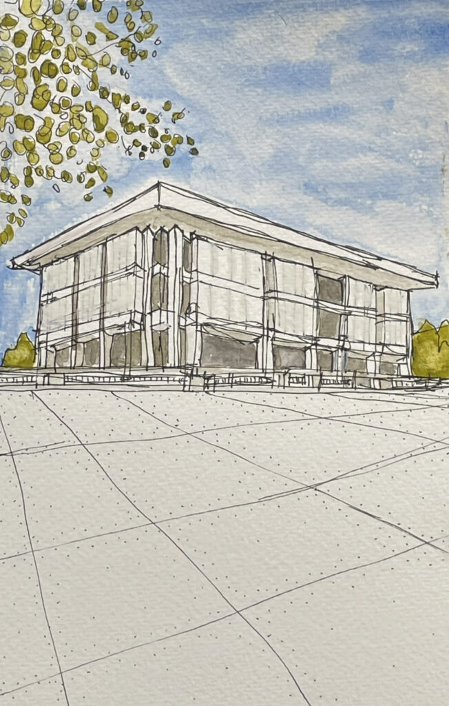 Russell Carlock AIA sketch of Cowgill Hall at Va Tech
